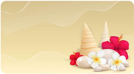 Sand banner with pebble stones, seashells and tropical flowers Vector