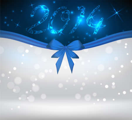 New year 2014 holiday shiny background with blue bow ribbon Vector