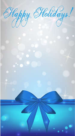 Vertical Christmas holiday background with blue ribbon bow Vector