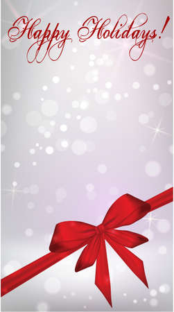 vertical image: Vertical Christmas holiday background with red ribbon bow Illustration