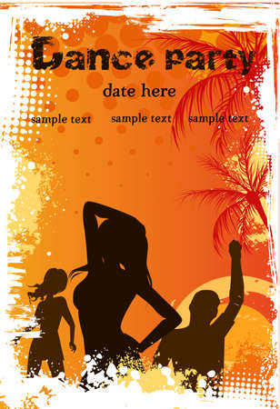 promo: Orange grunge palm background with dancing people - party poster template