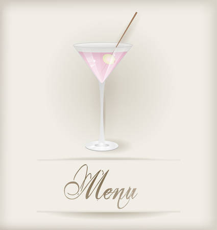 aperitif: Menu template with glass of pink martini Illustration