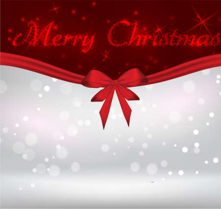 silver ribbon: Christmas holiday shiny background with red bow ribbon