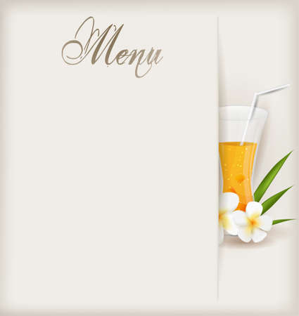 pink plumeria: Menu template with glass of orange juice and flowers Illustration
