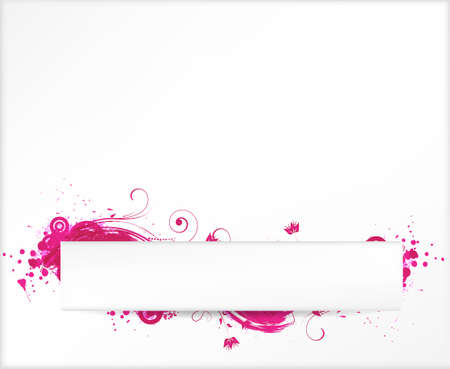 Background with pink grunge elements with floral swirls and horizontal banner Stock Vector - 23234101