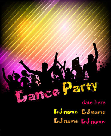 Poster for disco party with silhouettes of dancing people Stock Vector - 23234105