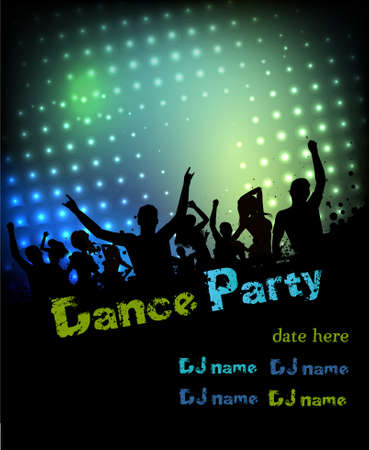 Poster for disco party with silhouettes of dancing people Stock Vector - 23257721