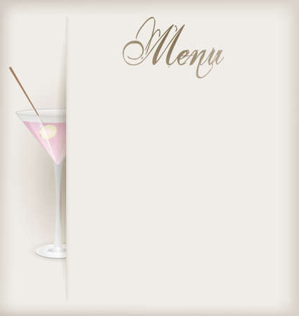 Menu template with glass of pink martini Vector