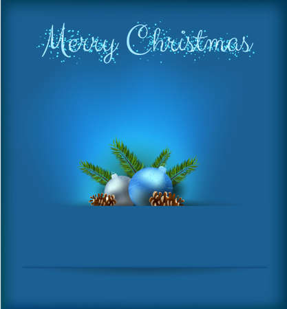 conifer: Christmas card with blue baubles and conifer cones on dark background Illustration