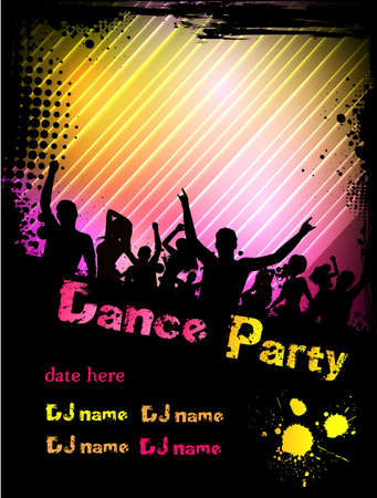 Poster for disco party with silhouettes of dancing people, grunge frame and colorful blots Vector