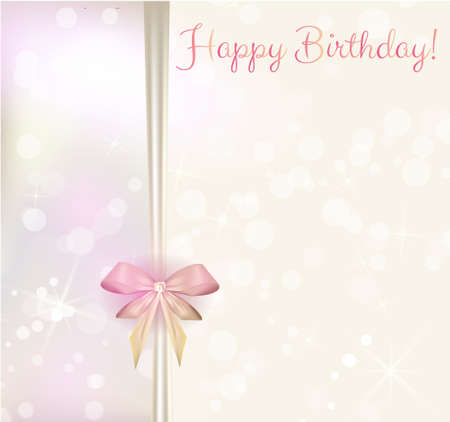 pink ribbons: Shiny happy birthday background with ribbons and bow in light colors Illustration