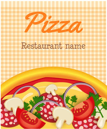 Menu template with pizza on orange striped background Vector