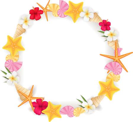 夏の要素 - 貝殻、ヒトデ、花からサークル フレームの背景  イラスト・ベクター素材