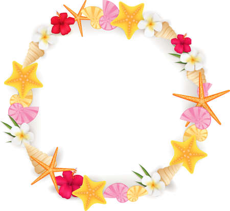 Circle frame background from summer elements - seashell, starfishes, flowers Vector