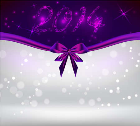 New year 2014 holiday shiny background with purple bow ribbon Vector