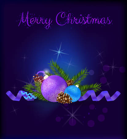 conifer: Christmas card with blue and purple baubles and conifer cones on dark background