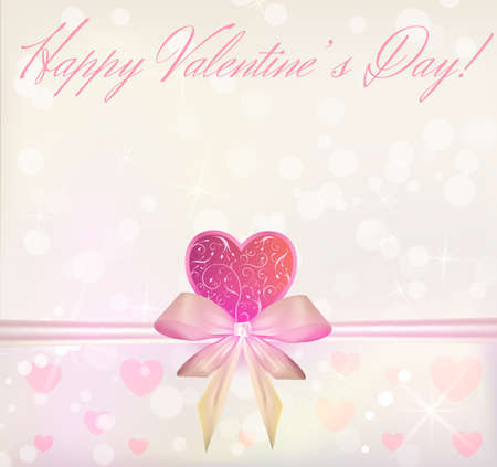 Valentine s Day greeting card with ribbon bow and swirly pink heart Vector