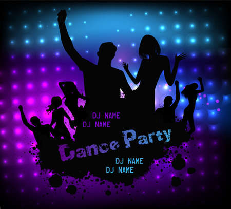 disco party: Poster template for disco party with silhouettes of dancing people and grunge elements Illustration