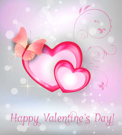 heartshaped: Valentines Day greeting card with two heart-shaped frames with butterfly and floral elements