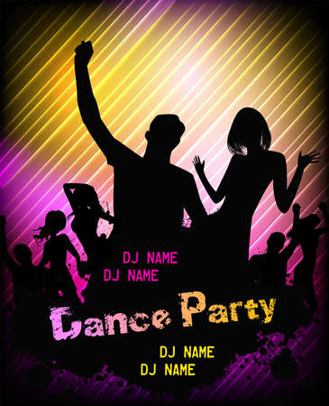 Poster for disco party with silhouettes of dancing people Stock Vector - 25319709