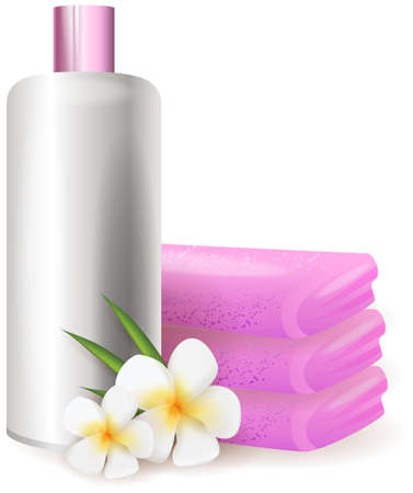 body care: Bottle of shampoo with plumeria flowers and pink towels