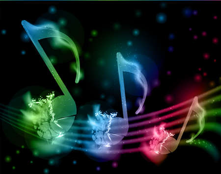 shatter: Glowing musical notation from shattered multicolored notes Illustration