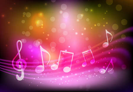 Pink background with abstract musical notation Ilustração
