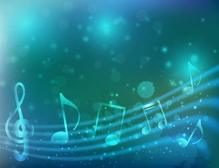 music notation: Blue background with abstract musical notation Illustration