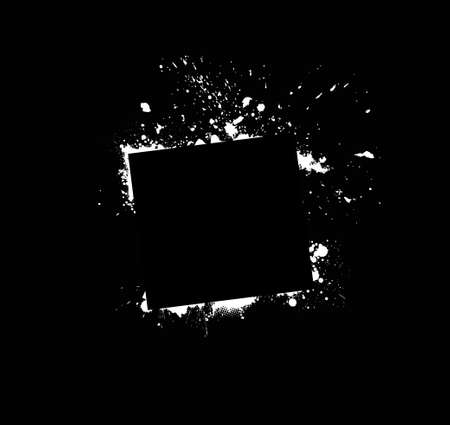 White grunge frame on black background