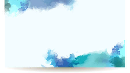 Banner with blue watercolor elements Ilustração