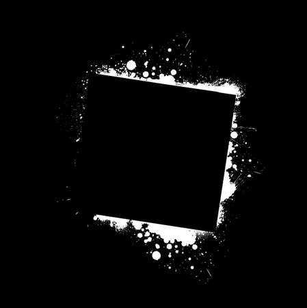 black grunge background: White grunge frame on black background