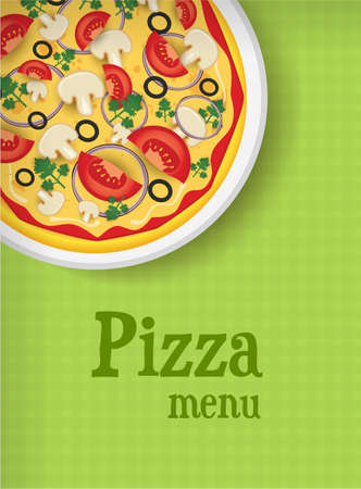 Menu template green background with pizza Vector