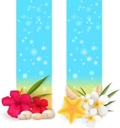 Two summer sand vertical banner with pebble stones, seashells and tropical flowers Vector