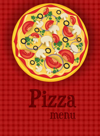 onion rings: Menu template red background with pizza Illustration