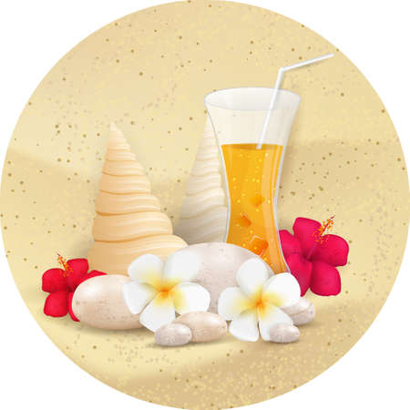 Sand round background with pebble stones, seashells, tropical flowers and glass of juice Vector