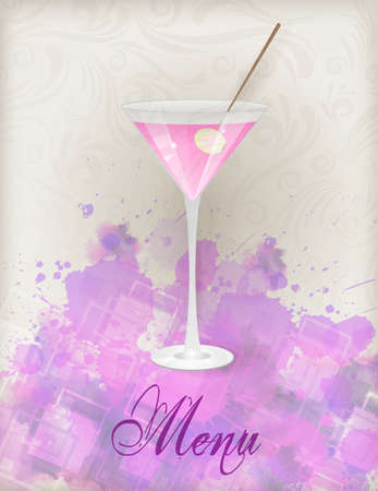 aperitif: Menu template with glass of pink martini on watercolor splash background