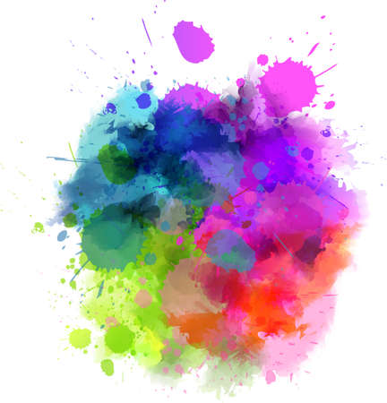 wash painting: Multicolored watercolor splash blot