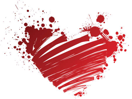 Red grunge heart with splashes Vector