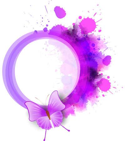 fondos violeta: Marco de acuarela abstracta redonda de color púrpura con la mariposa