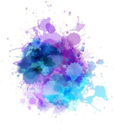 色とりどり水彩画スプラッシュのしみ  イラスト・ベクター素材