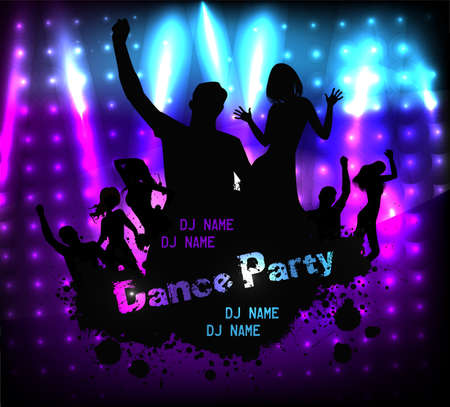 Poster template for disco party with silhouettes of dancing people and grunge elements Stock Vector - 26933982