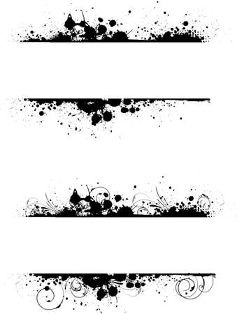 floral grunge: Grunge two banners frame in black color with floral swirl elements