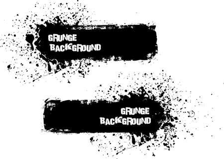ed: Grunge banner backgrounds in black color Illustration