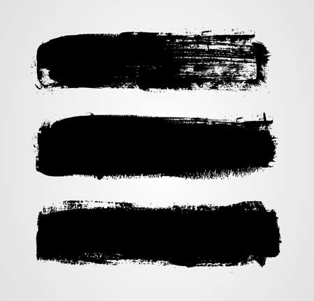 messy paint: Set of three black grunge banners for your design