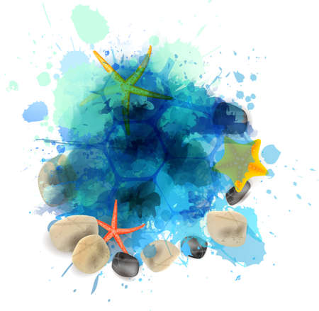 Summer background with starfishes and pebble stones on abstract watercolor splash Vector