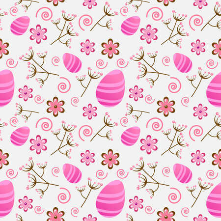 Seamless Easter pattern with floral elements and eggs Vector