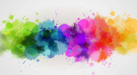 여러 가지 빛깔의 수채화 라인 배경