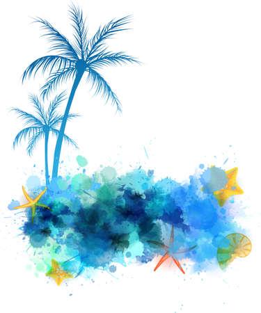 Zomer achtergrond met zeesterren, palmbomen en schelpen op abstracte aquarel splash