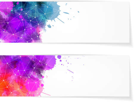 painted lines: Two banners with multcolored watercolor splashes and abstract net design Illustration