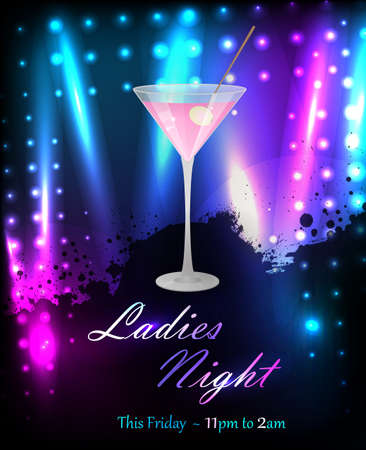 Ladies night or party poster template with glass of pink martini Vector